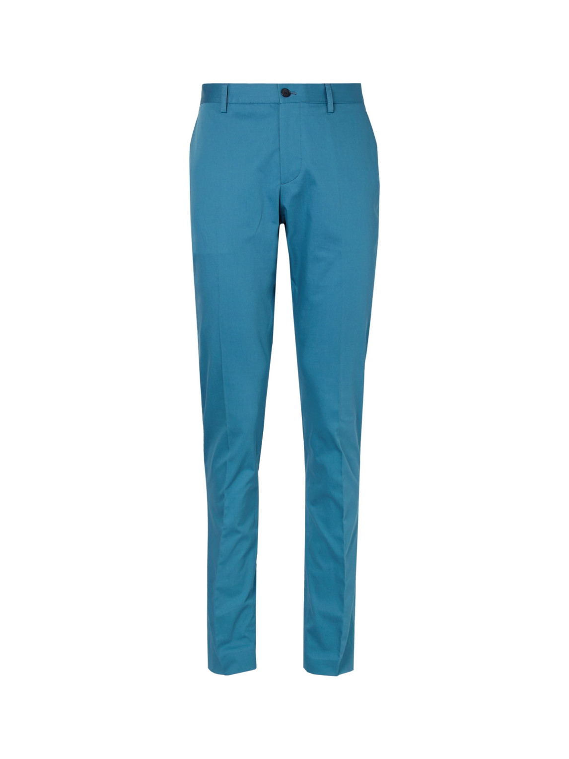 etro - stretch-cotton twill trousers - men - blue - it 52