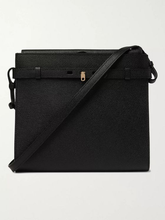 VALEXTRA Brera B-Tracollina Pebble-Grain Leather Messenger Bag