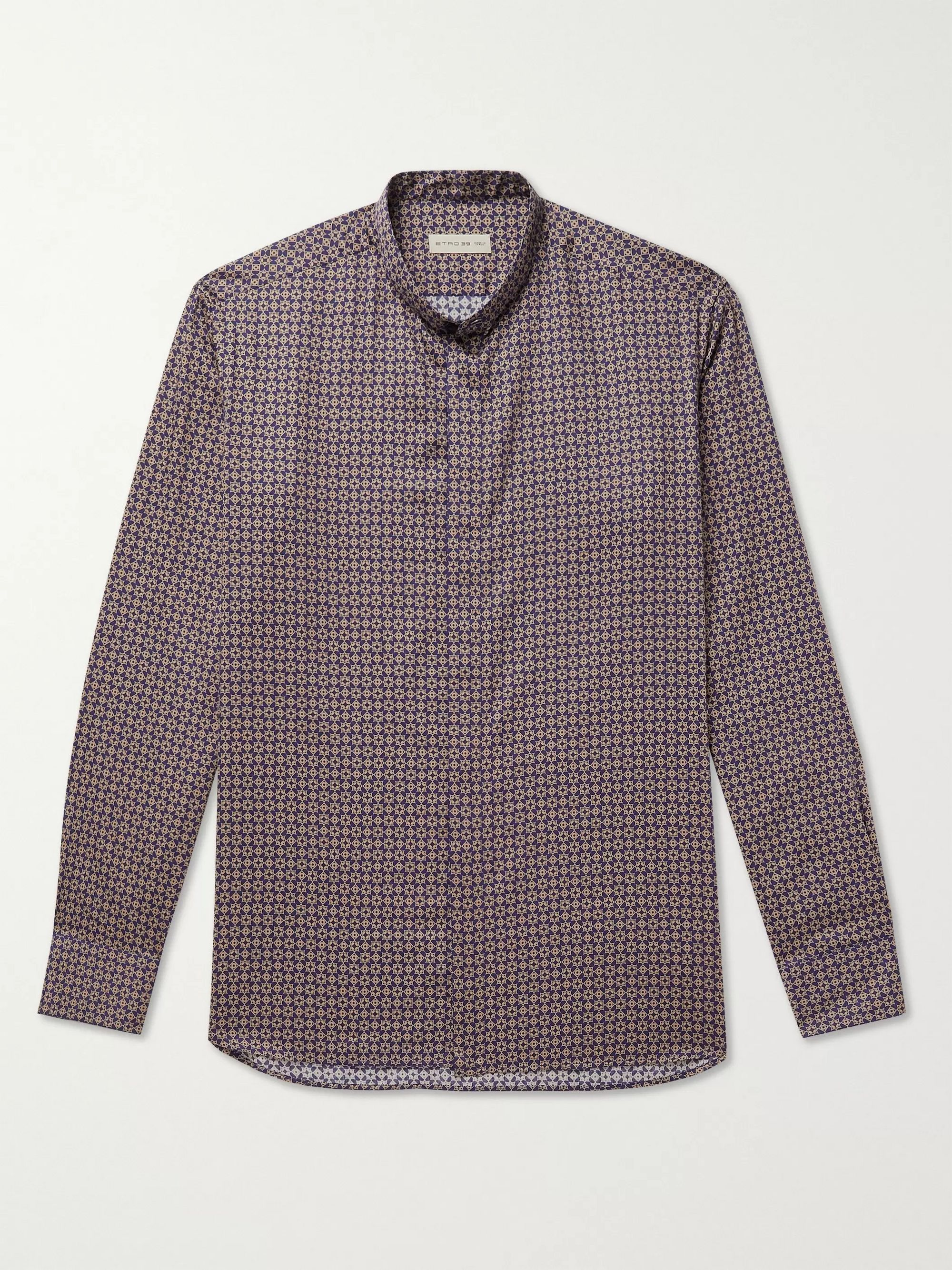 ETRO Grandad-Collar Printed Cotton Shirt