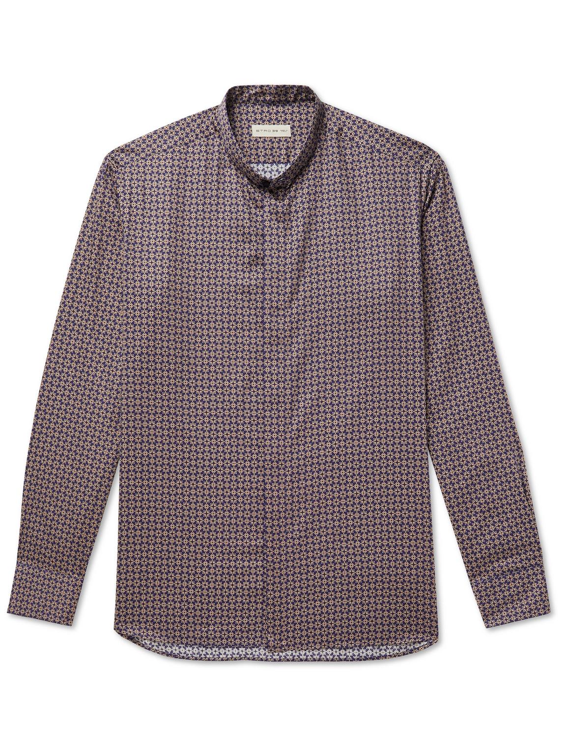 etro - grandad-collar cotton shirt - men - blue - eu 38