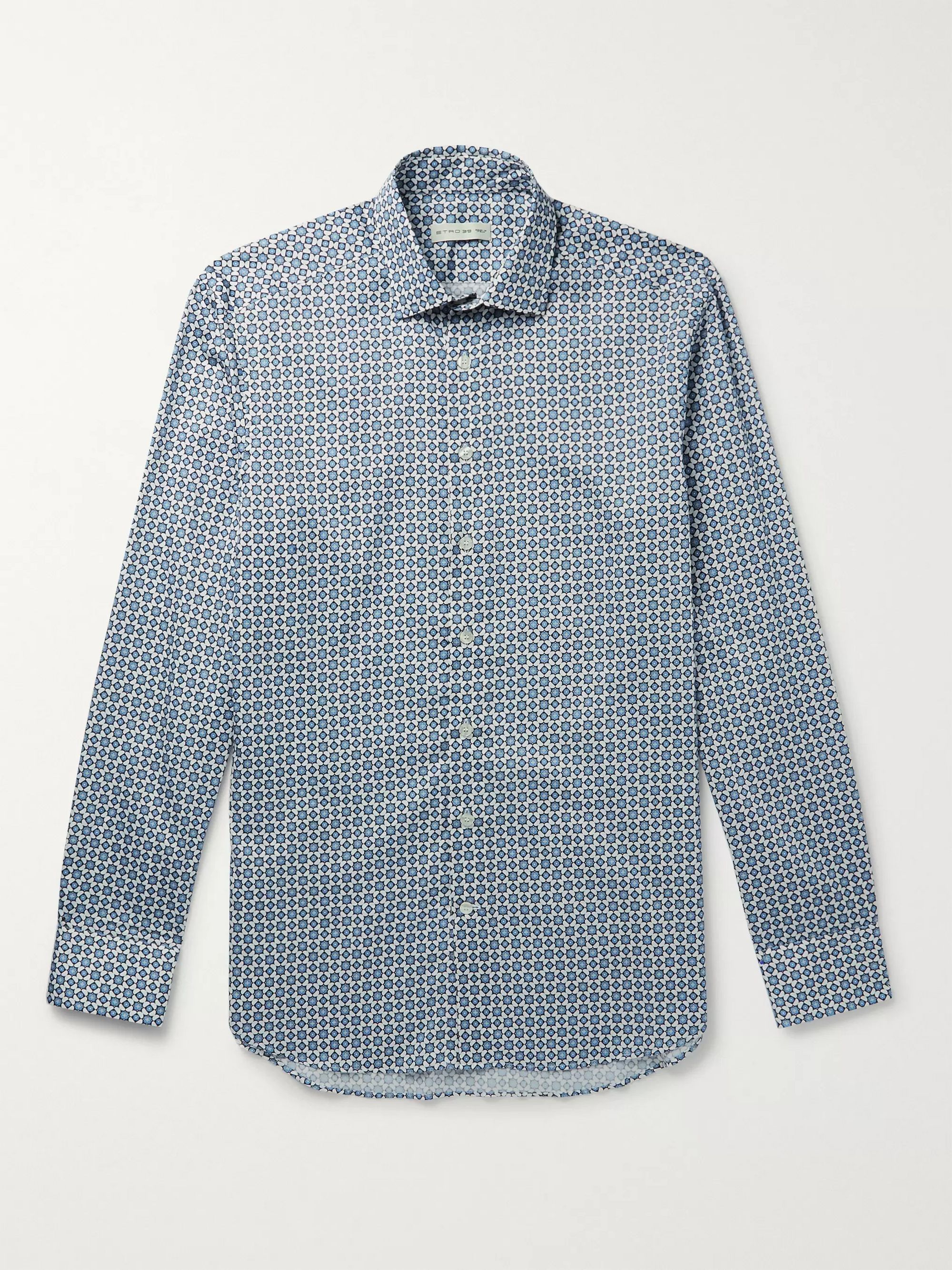 ETRO Cutaway-Collar Printed Cotton Shirt