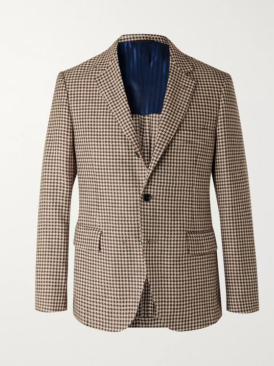 MP MASSIMO PIOMBO Houndstooth Linen and Cotton-Blend Blazer
