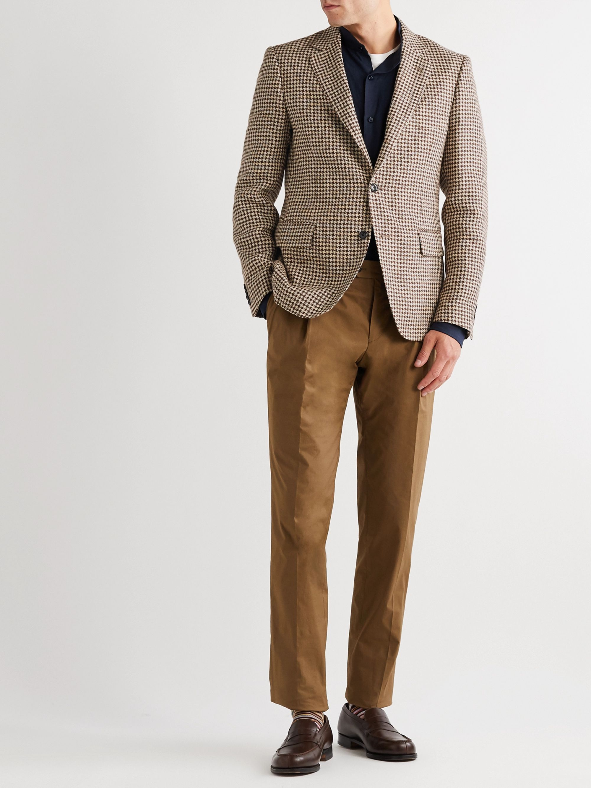 MP MASSIMO PIOMBO Slim-Fit Houndstooth Linen and Cotton-Blend Blazer