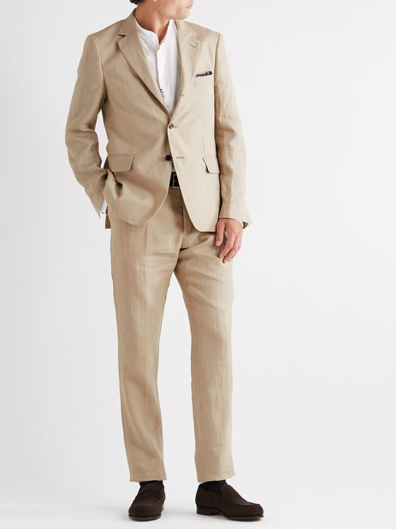 MP MASSIMO PIOMBO Andy Unstructured Linen Suit Jacket