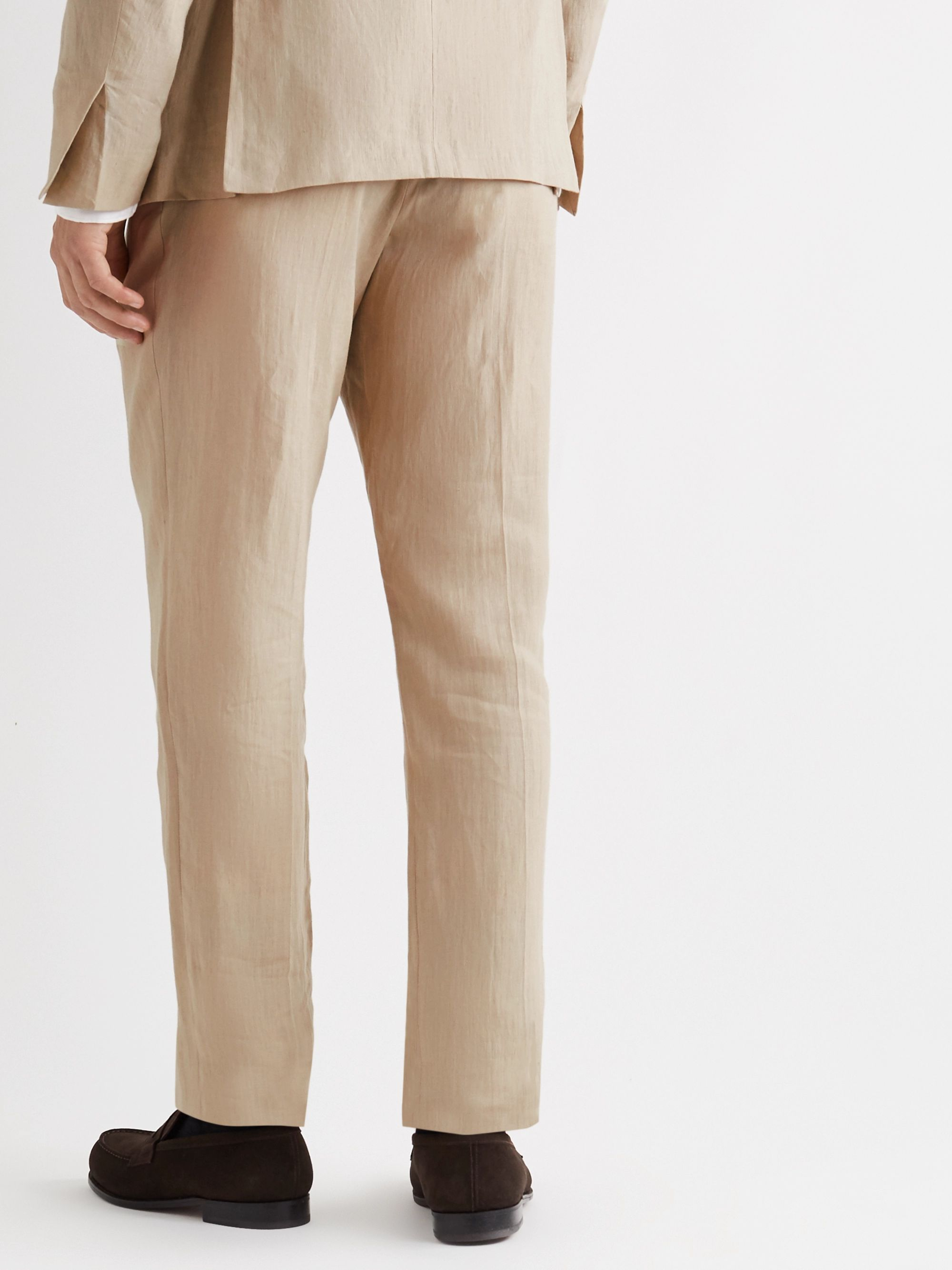 MP Massimo Piombo Slim-Fit Pleated Linen Suit Trousers