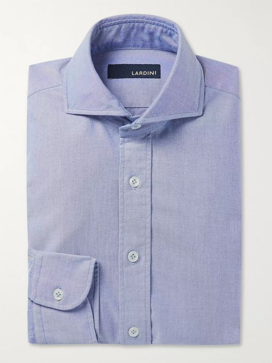 LARDINI Slim-Fit Cutaway-Collar Cotton Shirt