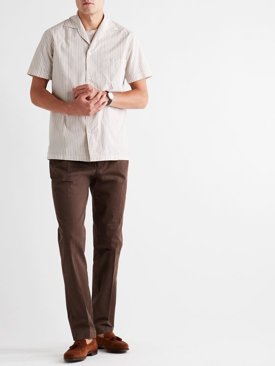 Lardini Pleated Cotton-Blend Twill Trousers