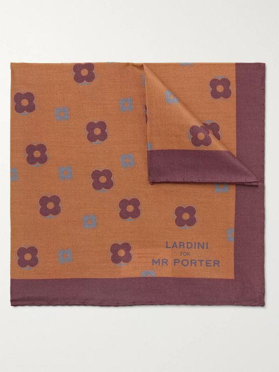 LARDINI Printed Silk and Cotton-Blend Pocket Square