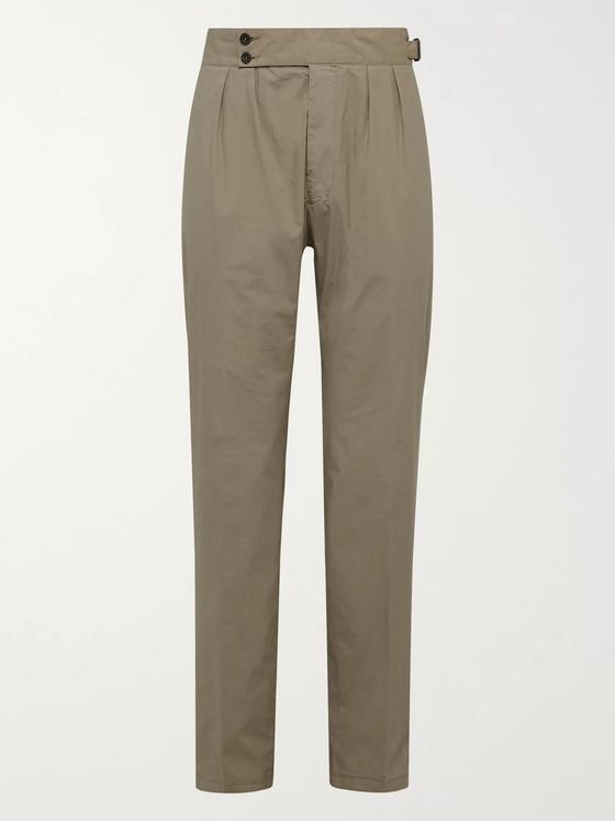 LARDINI Pleated Stretch-Cotton Trousers