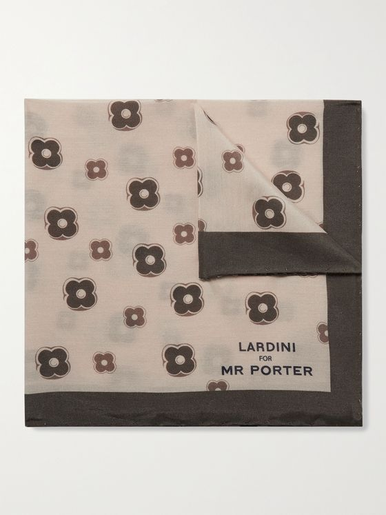 LARDINI Printed Silk and Cotton-Blend Twill Pocket Square