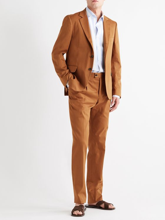 MP MASSIMO PIOMBO Slim-Fit Pleated Stretch-Cotton Twill Suit Trousers