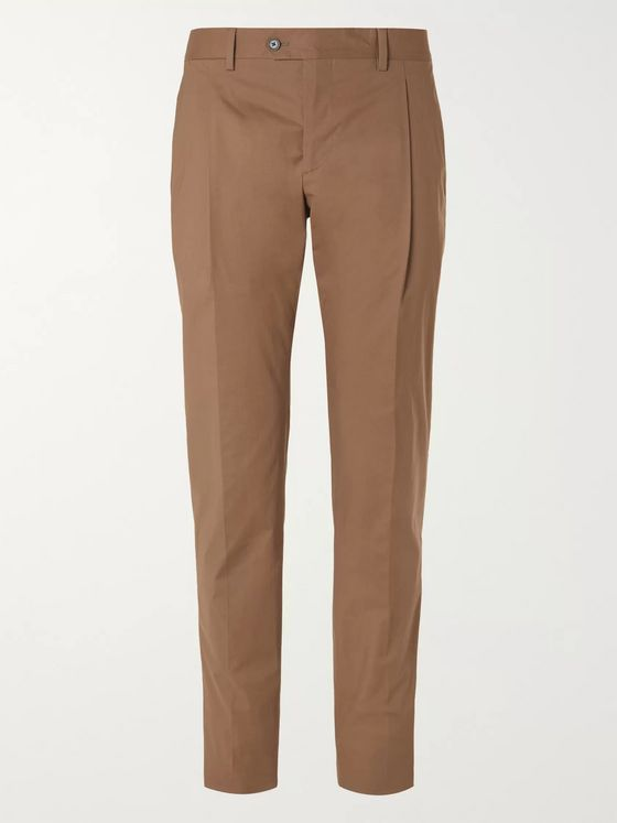 LARDINI Slim-Fit Pleated Cotton-Blend Poplin Suit Trousers