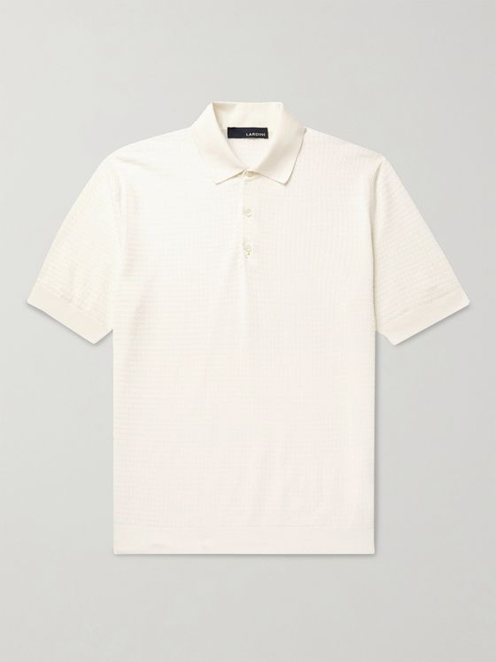 LARDINI Slim-Fit Textured-Cotton Polo Shirt
