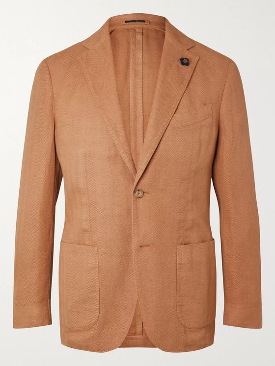 LARDINI Unstructured Herringbone Cotton-Blend Blazer