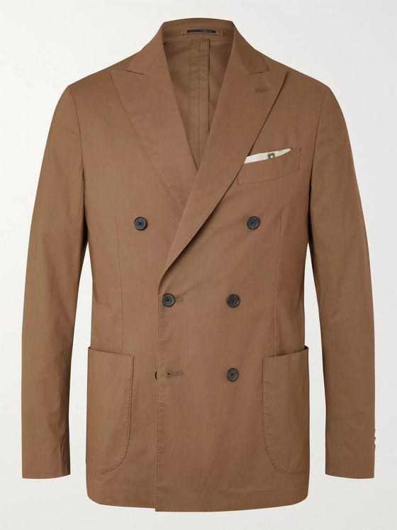 LARDINI Unstructured Double-Breasted Cotton-Blend Poplin Suit Jacket