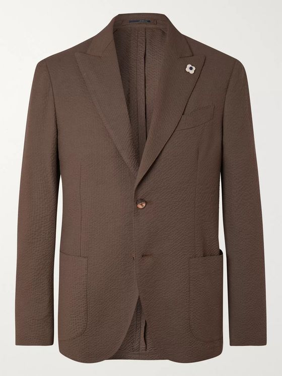 LARDINI Unstructured Cotton-Blend Seersucker Blazer