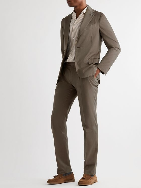 LARDINI Slim-Fit Cotton and Silk-Blend Suit Trousers