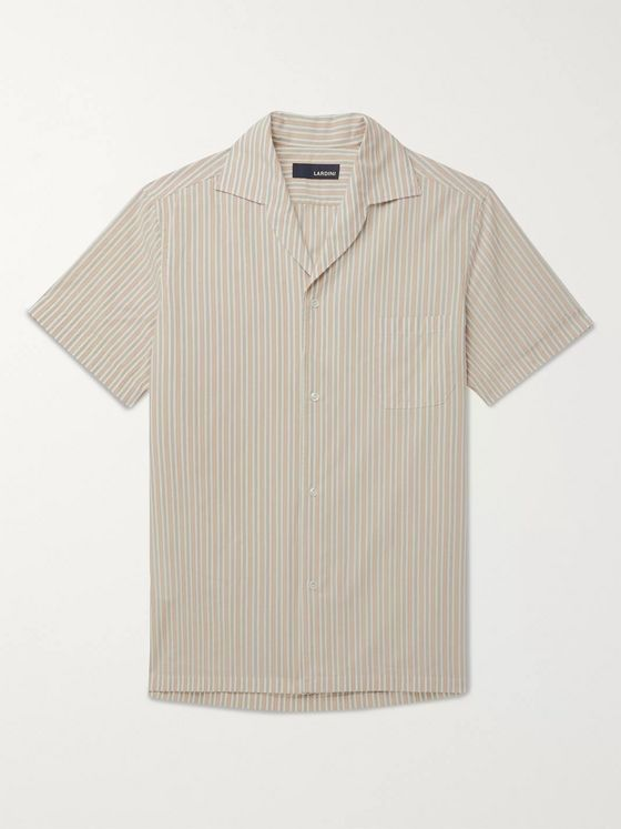 Lardini Gian Camp-Collar Striped Cotton Shirt