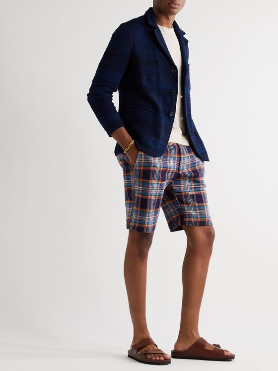 Missoni Slim-Fit Checked Crochet-Knit Cotton and Wool-Blend Shorts