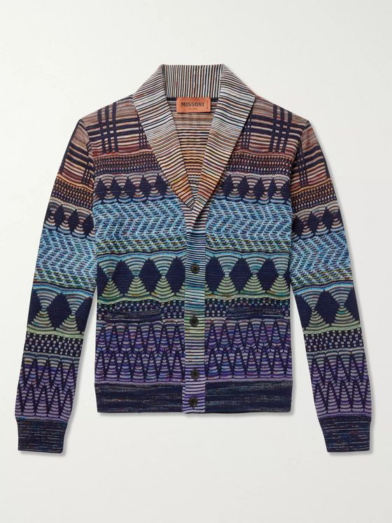 MISSONI Shawl-Collar Crochet-Knit Wool and Cotton-Blend Cardigan