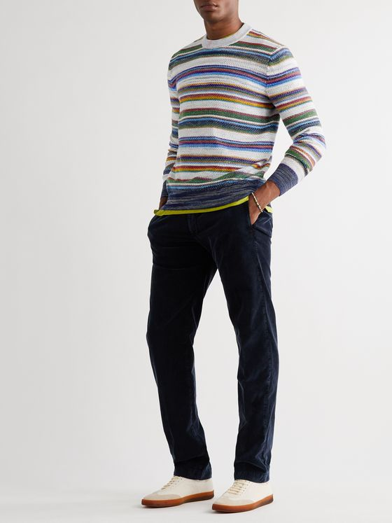 MISSONI Striped Crochet-Knit Cotton and Wool-Blend Sweater