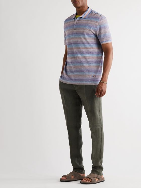 Missoni Space-Dyed Crochet-Knit Cotton Polo Shirt