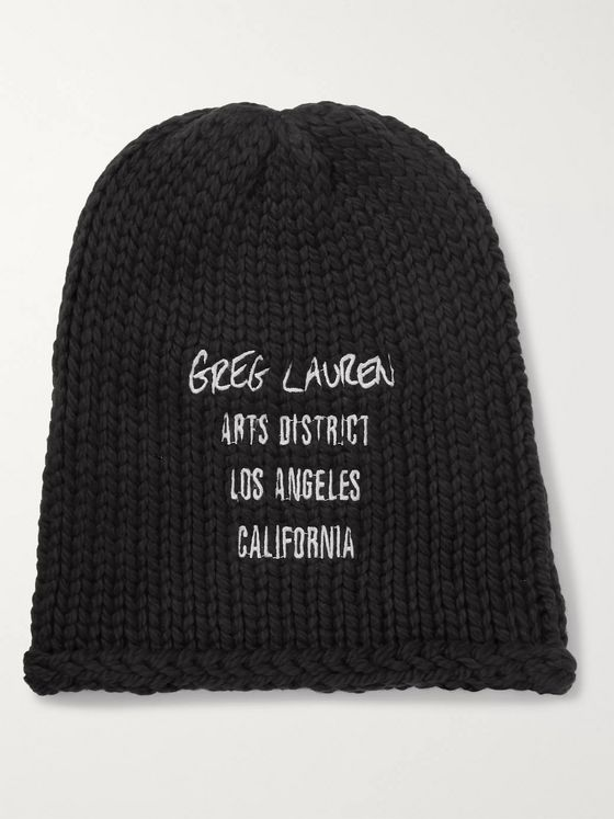 GREG LAUREN Embroidered Cotton Beanie