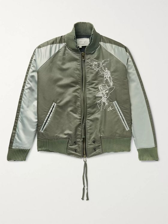 GREG LAUREN Distressed Embroidered Colour-Block Nylon-Twill and Satin Bomber Jacket
