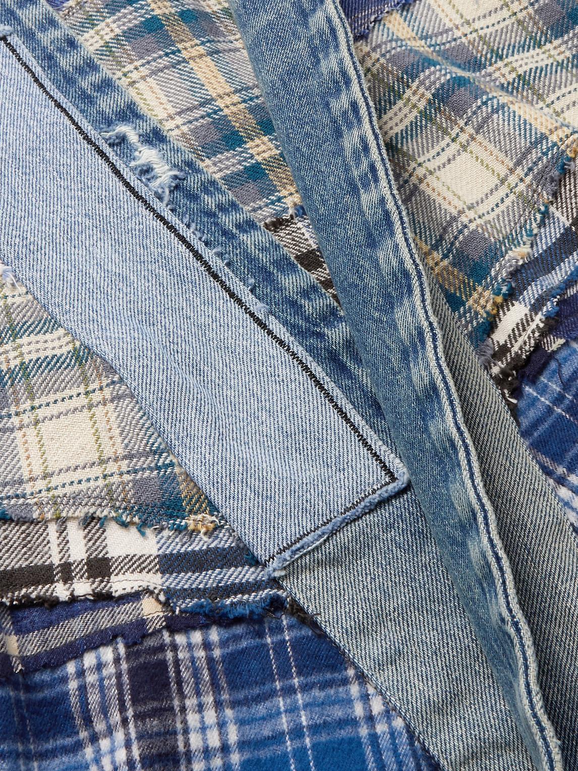 GREG LAUREN Cottons PATCHWORK DENIM-TRIMMED CHECKED COTTON-FLANNEL JACKET