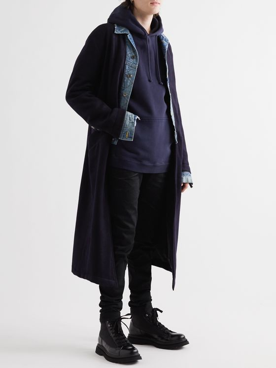 Greg Lauren Layered Denim-Panelled Cashmere-Blend Coat