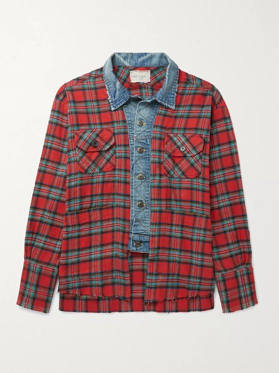 GREG LAUREN Frayed Denim-Trimmed Checked Cotton-Flannel Shirt