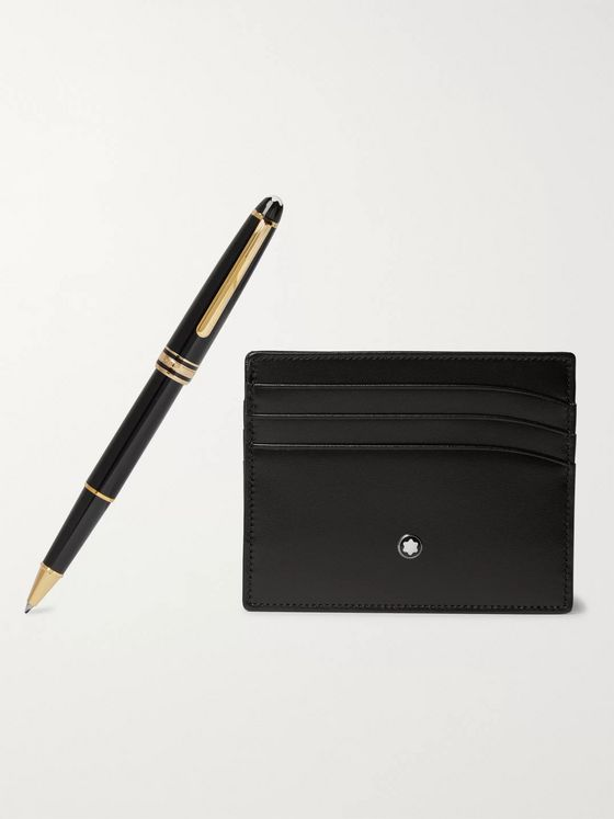 MONTBLANC Meisterstück Leather Cardholder and Resin Rollerball Pen Set