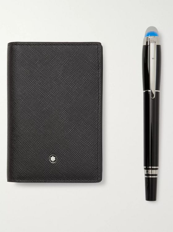 MONTBLANC StarWalker Resin Ballpoint Pen and Leather Business Card Holder Set