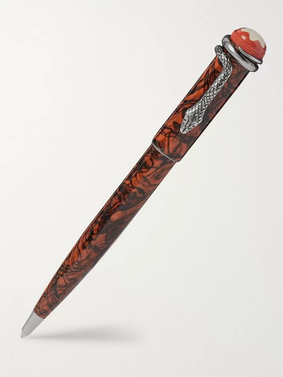 Montblanc Rouge et Noir Serpent Marbled Resin and Steel Ballpoint Pen