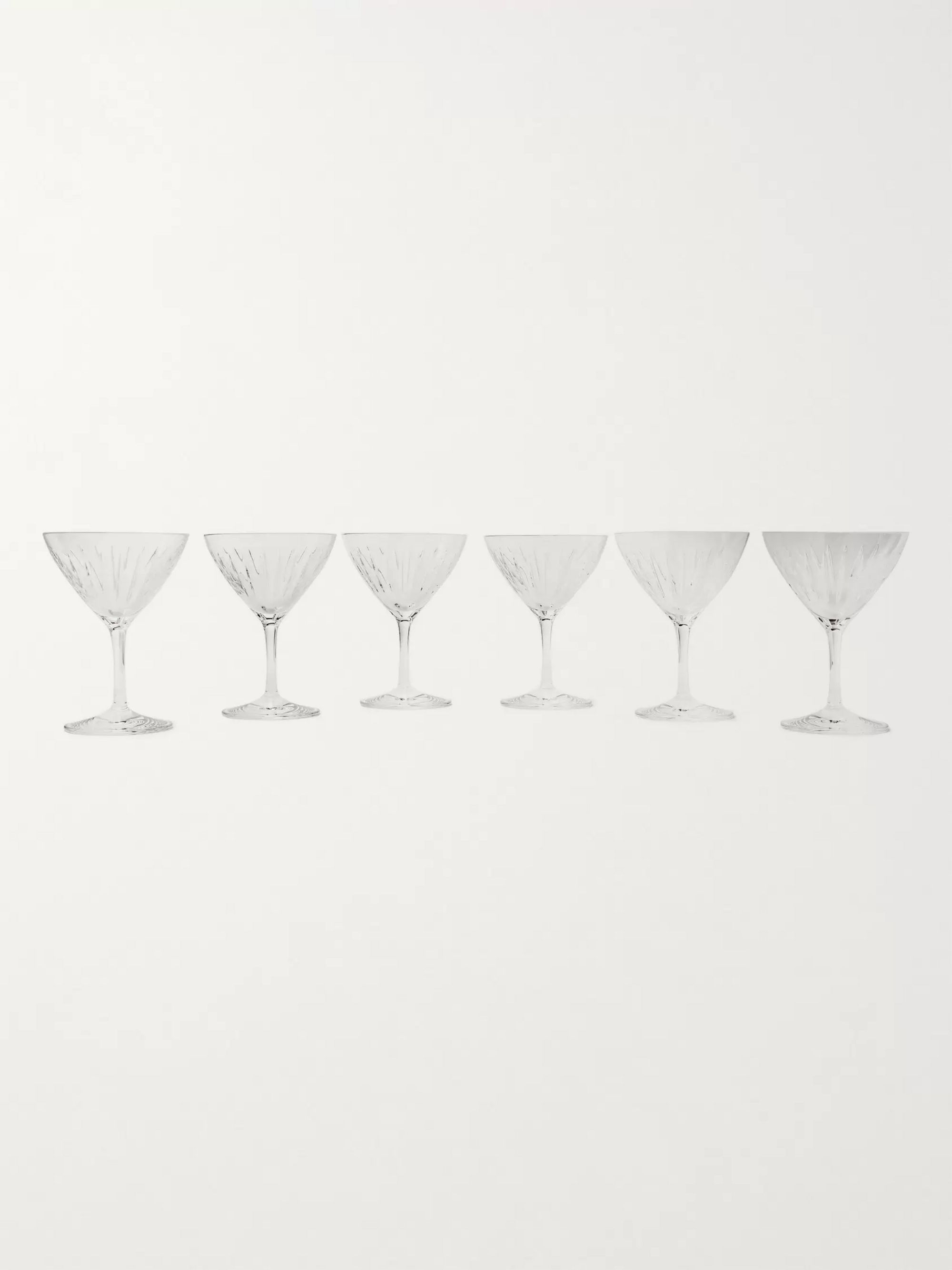 Soho Home Roebling Set of Six Cut Crystal Coupes