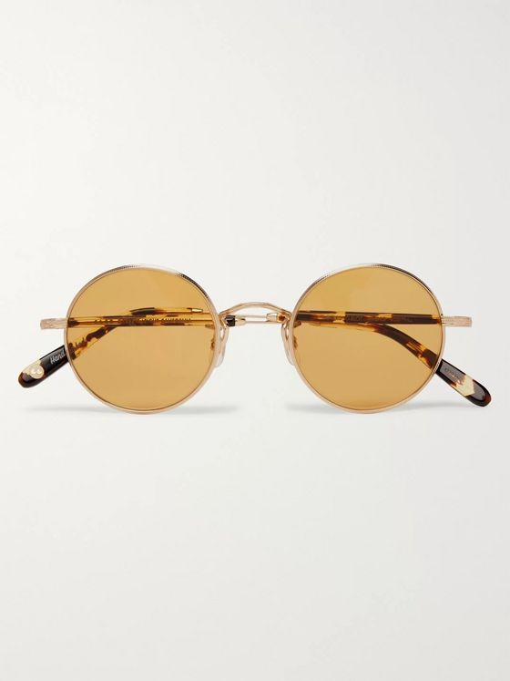 Garrett Leight California Optical Lovers 46 Round-Frame Gold-Tone and Tortoiseshell Acetate Sunglasses