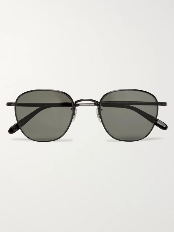 Garrett Leight California Optical World 49 Round-Frame Metal Sunglasses