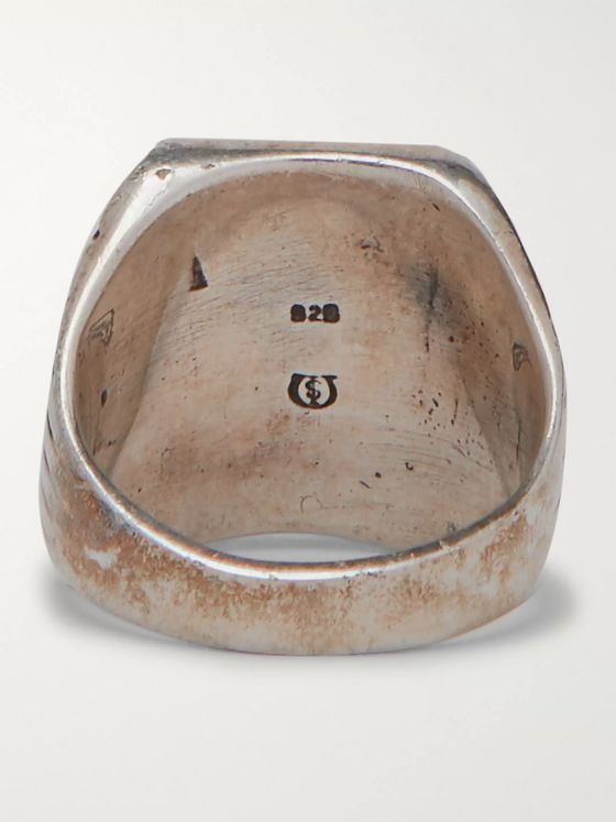 Foundwell Ray Jack Burnished Sterling Silver and Enamel Ring
