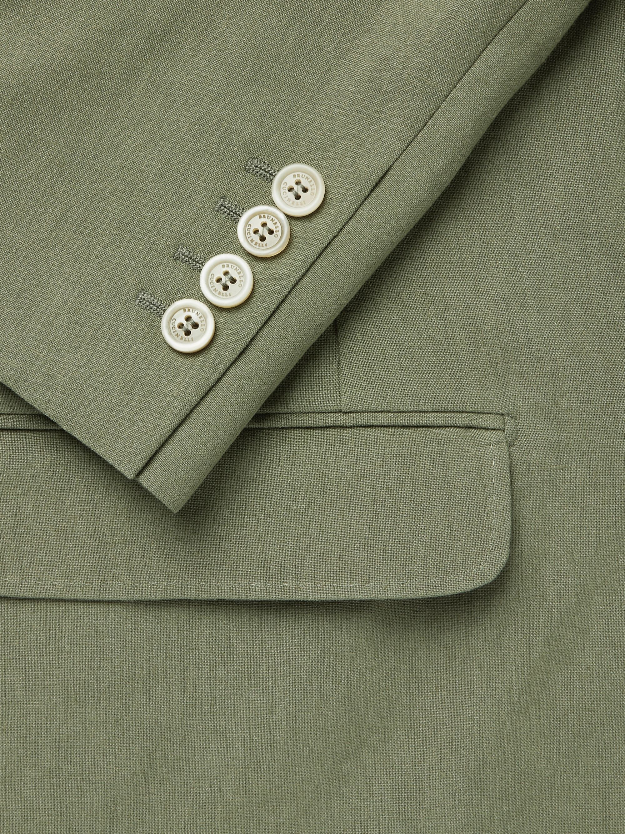 Brunello Cucinelli Sage-Green Slim-Fit Unstructured Linen-Hopsack Blazer
