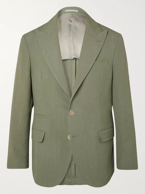 Brunello Cucinelli Slim-Fit Unstructured Linen-Hopsack Blazer
