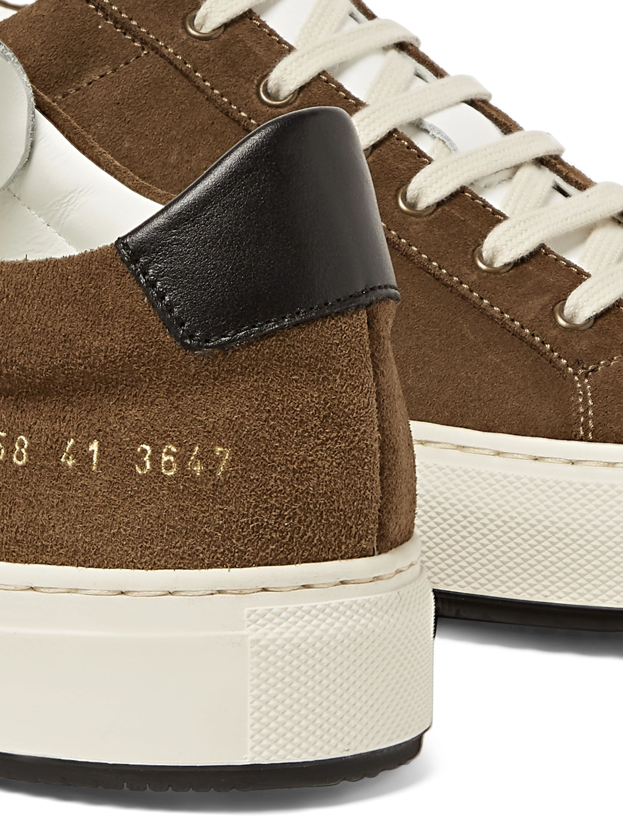 Common Projects Achilles Retro Suede-Trimmed Leather Sneakers