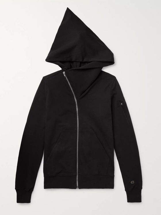 Rick Owens + Champion Logo-Embroidered Cotton-Blend Jersey Zip-Up Hoodie