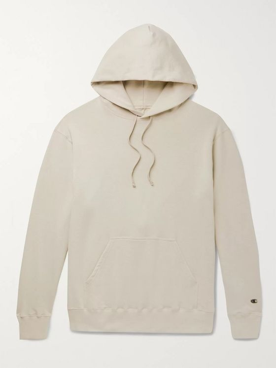 Rick Owens + Champion Logo-Appliquéd Loopback Cotton-Blend Jersey Hoodie