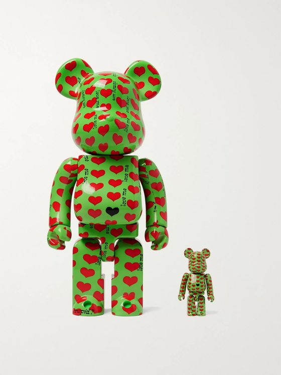 BE@RBRICK 100% + 400% Green Heart Figurine Set