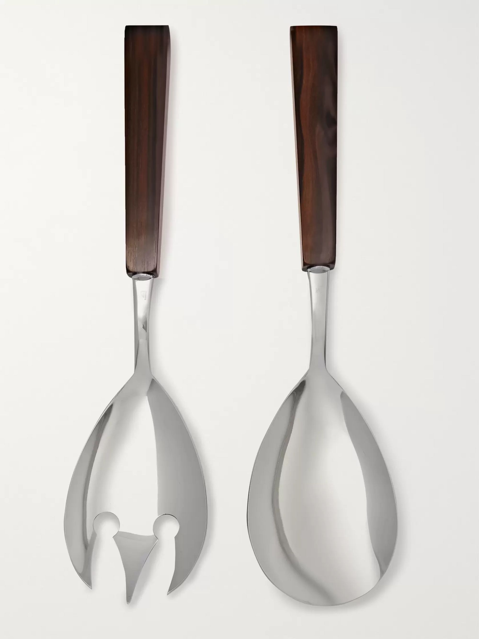 Lorenzi Milano Stainless Steel and Ebony Salad Serving Set
