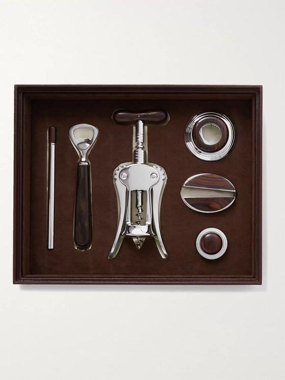 LORENZI MILANO Ebony, Chrome-Plated and Leather Wine Set
