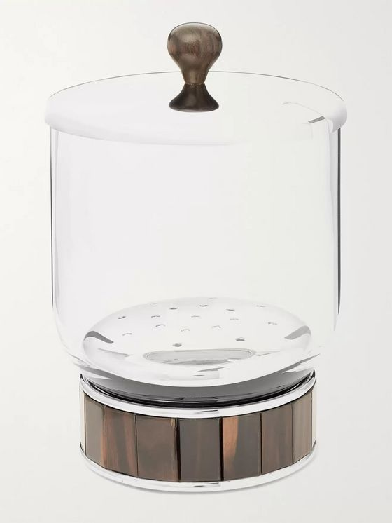 LORENZI MILANO Glass, Stainless Steel and Ebony Ice Bucket