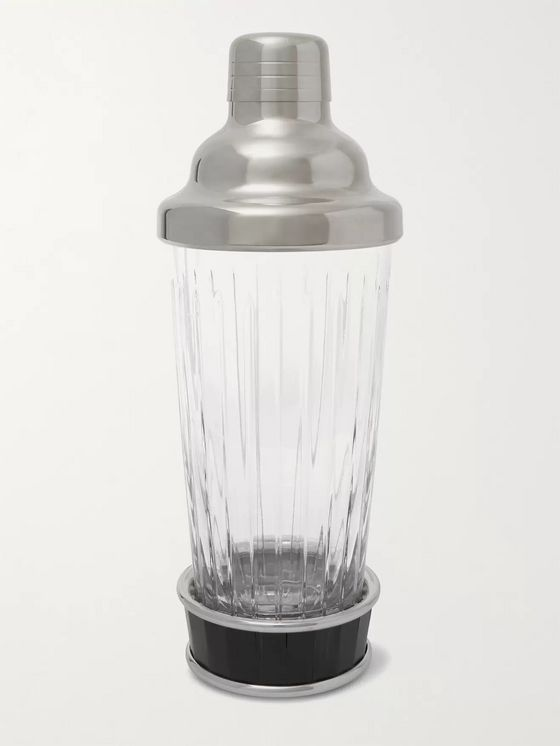 LORENZI MILANO Glass, Ebony and Stainless Steel Cocktail Shaker