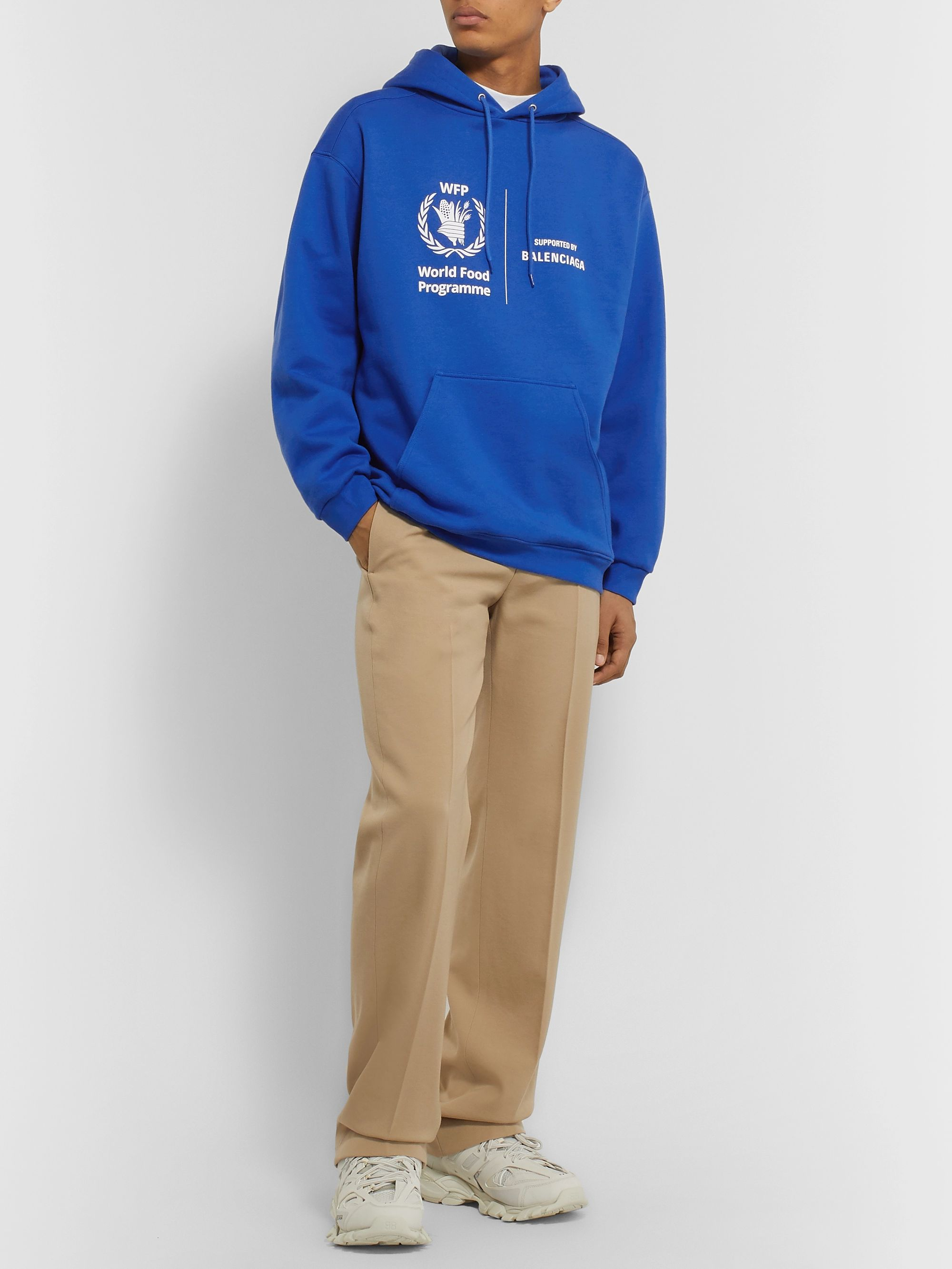 Blue World Food Programme Logo Print Fleece Back Cotton Jersey Hoodie Balenciaga Mr Porter
