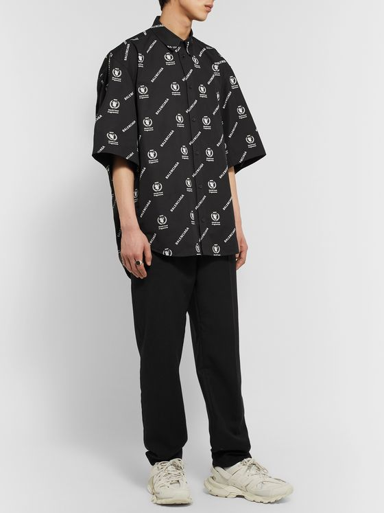 Balenciaga + World Food Programme Button-Down Collar Oversized Logo-Print Cotton-Poplin Shirt